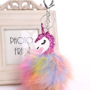 Accessories - NEW Unicorn Sequin Faux Fur Pom Keychain Bag Charm
